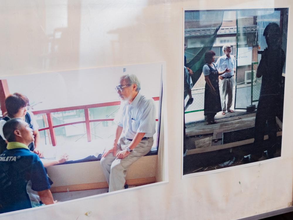 御舟宿いろは:店内 1階 宮崎駿視察のようす