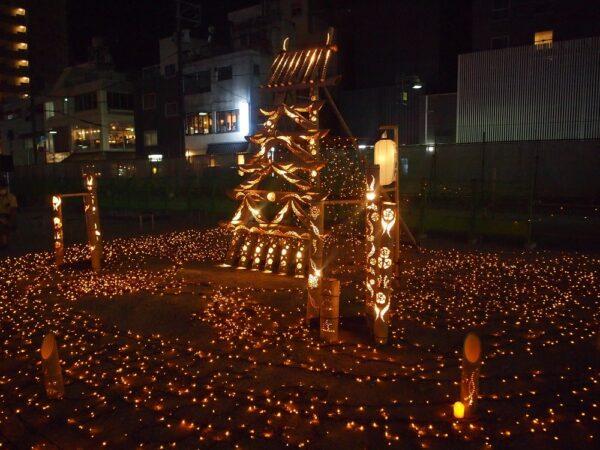 ふくやま城下あかりまつり(令和3年8月7~8日開催) ~ 幻想的な竹あかりが福山駅前に希望を届ける